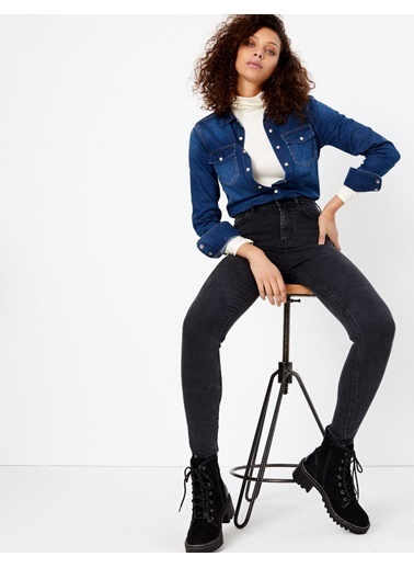 Marks & Spencer Yüksek Belli Ankle Jean Pantolon Siyah